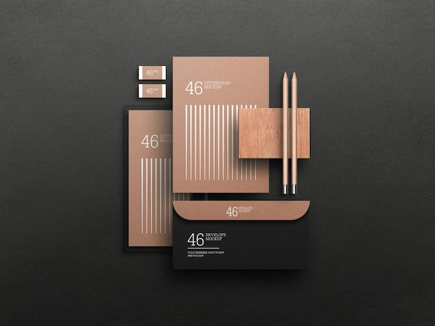 Top view of stationery mockup