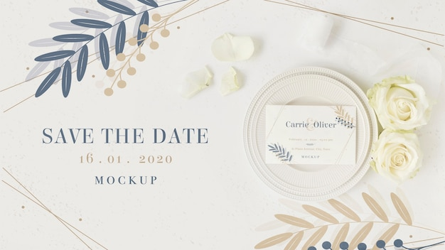 Top view stationery save the date with mock-up