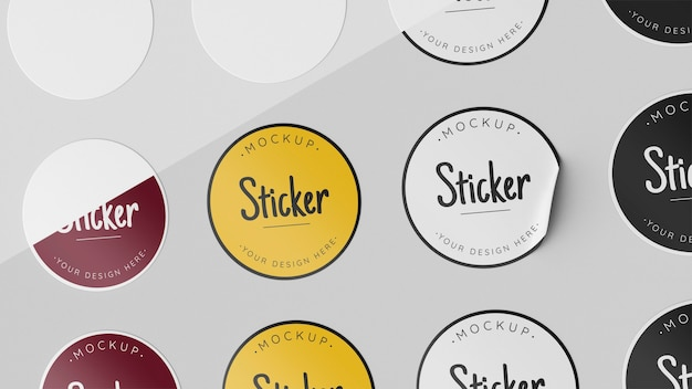 Top view sticker collection mock up