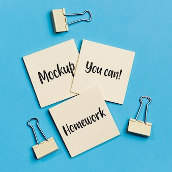 Top view sticky notes with paper clips
