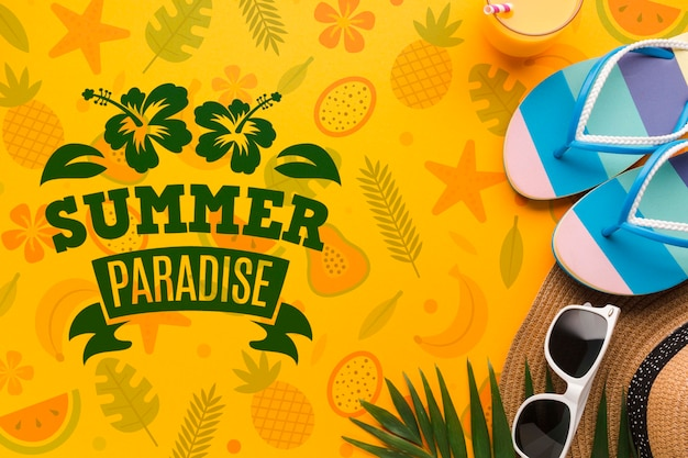 Top view summer paradise mock-up concept
