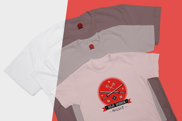 Top view of t-shirt concept mock-up