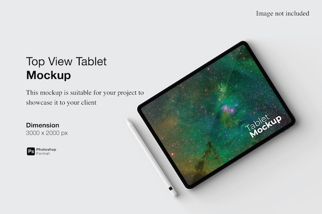 Top view tablet mockup design isolated