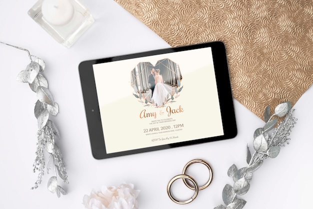 Top view tablet with wedding image