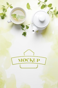 Top view of tea concept mock-up