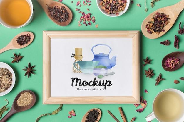 Top view of tea concept mock-up