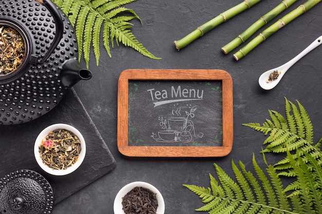Top view tea menu frame concept
