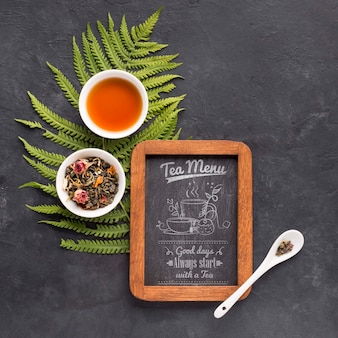 Top view tea menu with herbs and spices