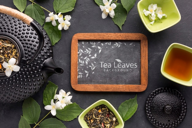 Top view tea time with herbs concept
