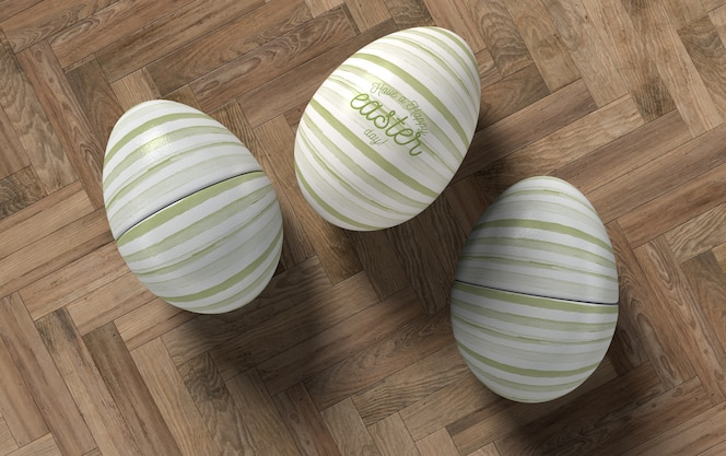 Top view three eggs on table