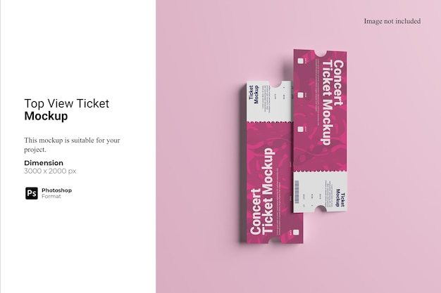 Top view ticket mockup