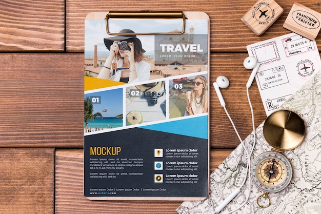 Top view travel mock-up and clipboard