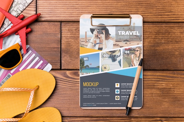 Top view travel mock-up with flip flops