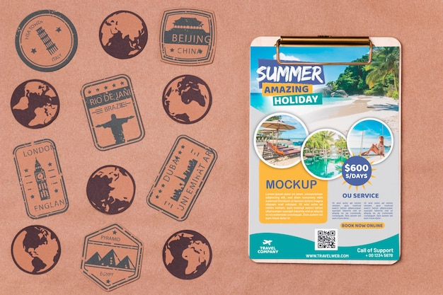 Top view travel mock-up with stamps