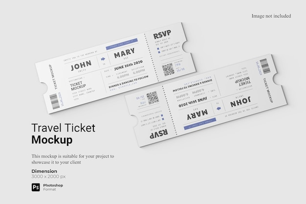 Top view travel ticket mockup design isolated