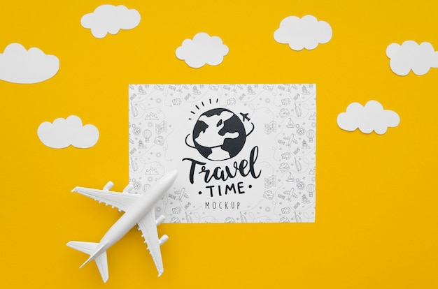 평면도 여행 비행기 모험 시간과 구름 무료 PSD 파일