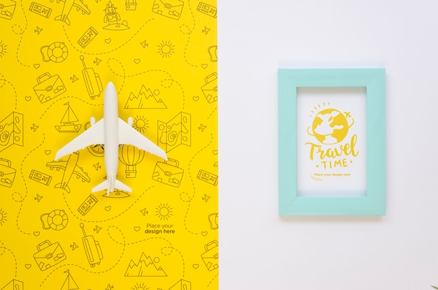 Top view travelling plane and vacation frame