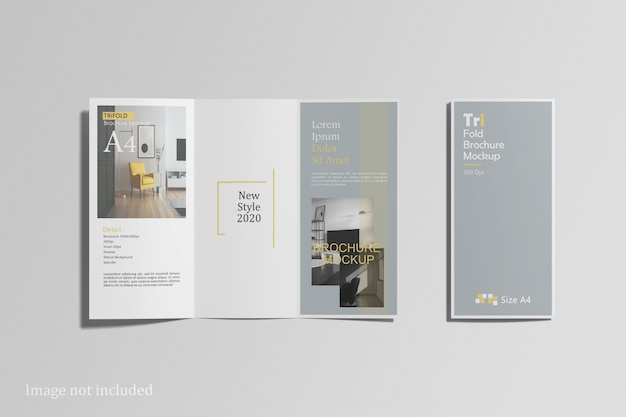 Top view of trifold brochure mockup