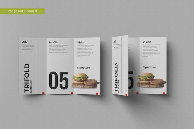 Top view trifold brochure mockup Premium Psd