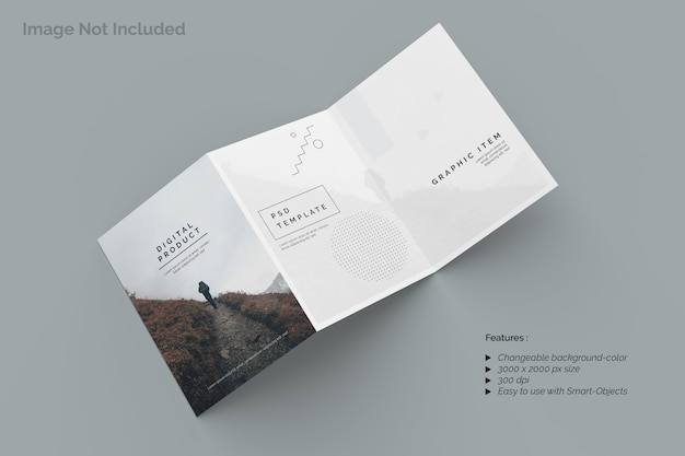 Top view on trifold brochure mockup