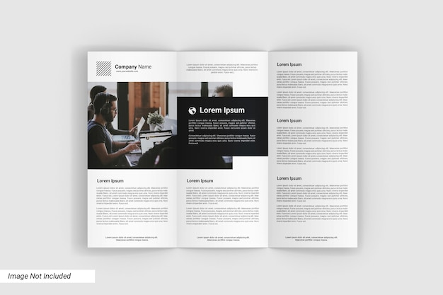 Top view trifold mockup