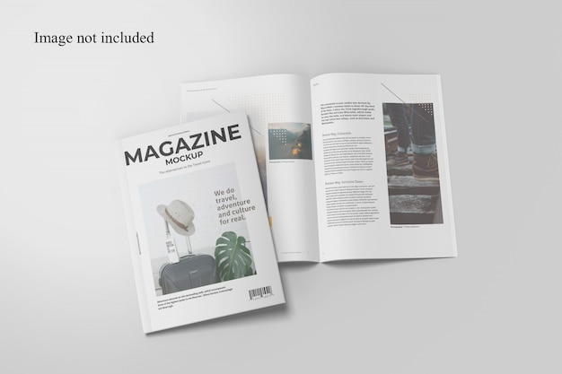 Top view two magazine mockup