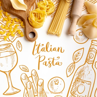 Top view uncooked pasta assortment on hand drawn background