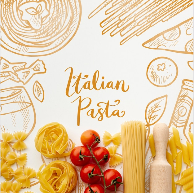 Top view uncooked pasta assortment and tomatoes with hand drawn background