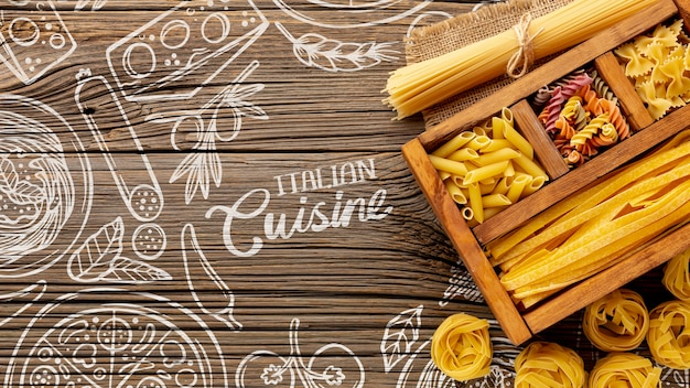Top view uncooked pasta assortment in wooden box on hand drawn background