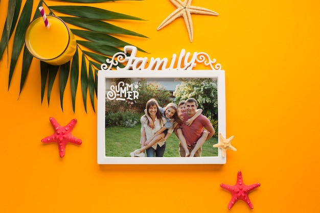 Top view vacation family frame concept