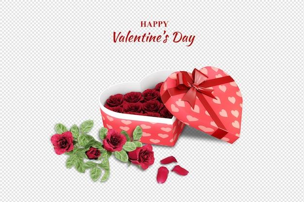 Вид сверху подарок на день святого валентина и изолированные розы
