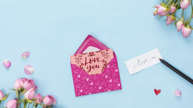 Top view valentines day card mockup