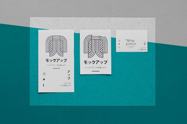 Вид сверху различных азиатских макетов документов
