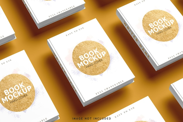 Top view on various book covers mockup