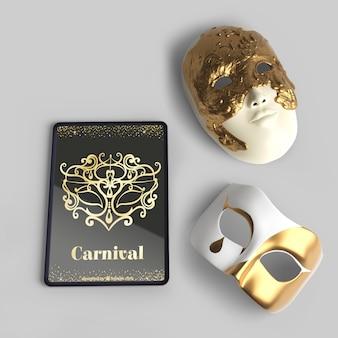 Вид сверху венецианские карнавальные маски и макет