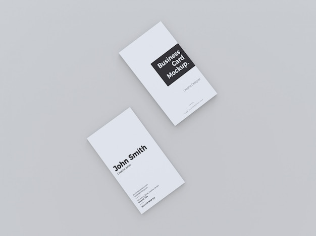 Top view vertical business card mockup