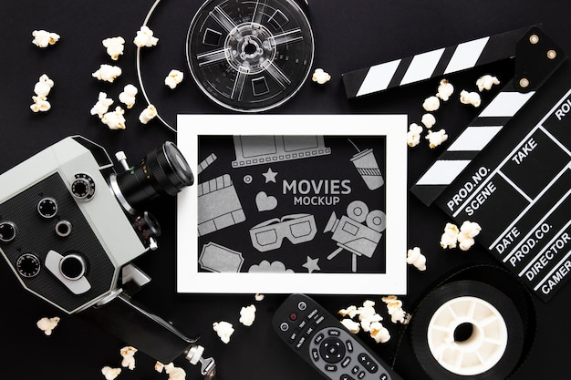 Top view vintage cinema mockup