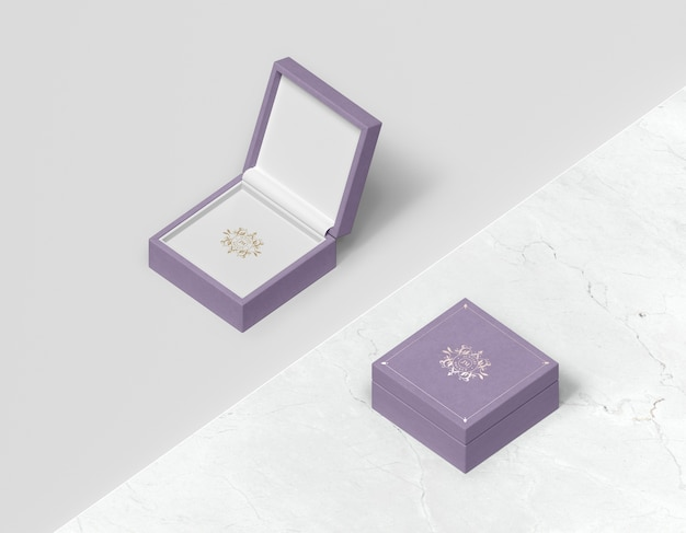 Top view violet gift box with cover