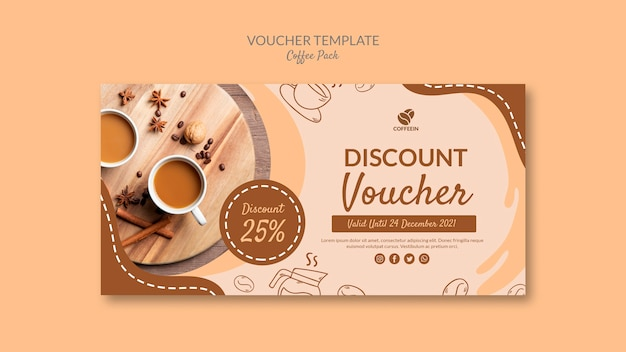 Top view voucher coffee pack template
