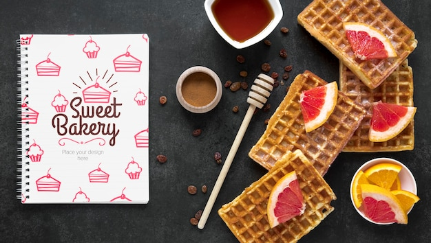 Top view of waffles with fruit Free Psd
