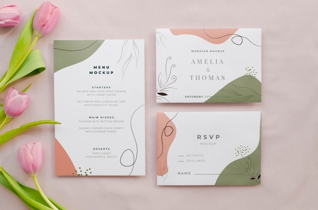 Top view of wedding cards with tulips