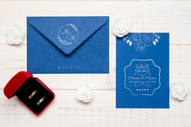 Top view wedding invitation concept