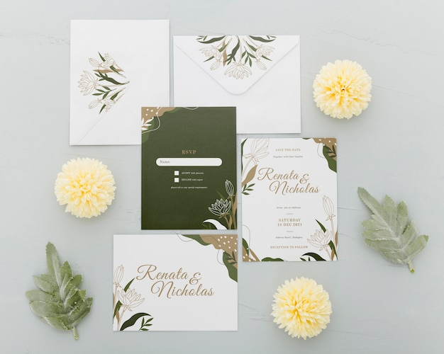 Top view wedding invitation with flowers