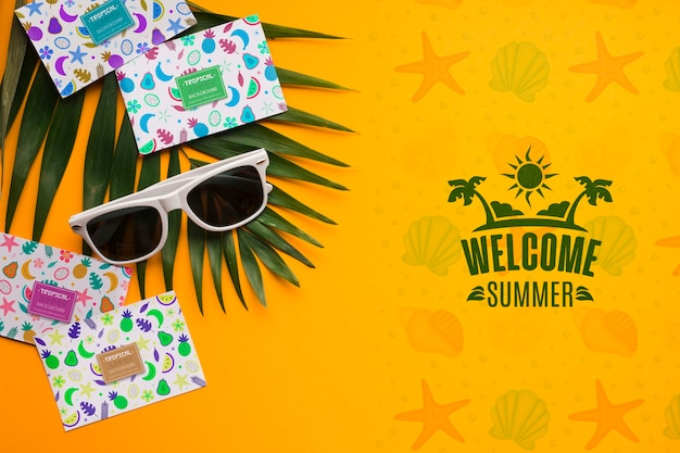Top view welcome summer concept
