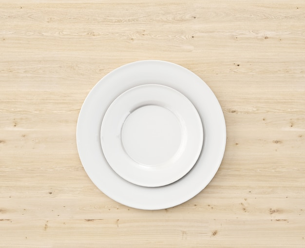 Top view white plate on wooden table