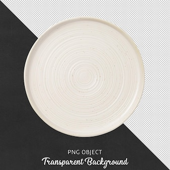 Top view of white round plate isolated