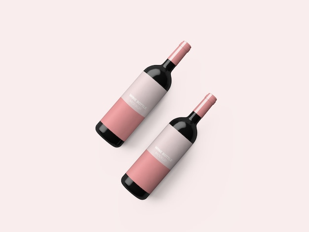 Top view wine bottle mockup