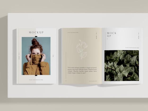 상위 뷰 여자와 자연 편집 잡지 모형