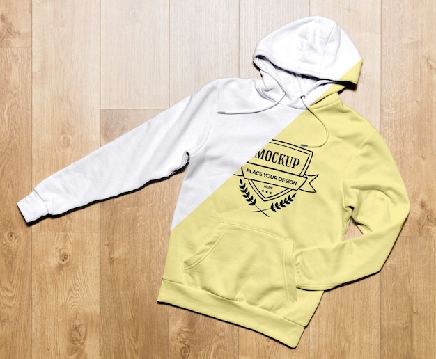 Top view yellow hoodie mock-up