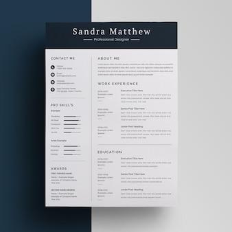 トップバー履歴書デザインテンプレート